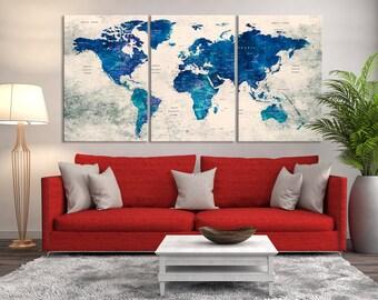 Push Pin World Map Print Art, World Map Travel, Large World Map Print, World Map Wall Art, Watercolor World Map Art, World Map Push Pin Art
