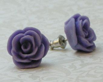 Rose Flower Earrings - Periwinkle Purple