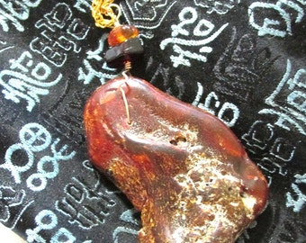 HUGE DOMINICAN AMBER Pendant on Long Gold Chain Necklace, layering necklace, standout jewelry, alexawolfonline
