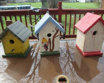 3 Hand Painted Pine Bird Houses