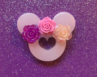 Minnie Mouse Inspired Disney Pin Brooch - with Flower Crown