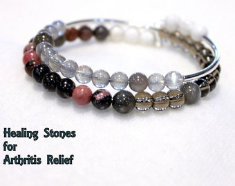 Arthritis Relief Bracelet with Silver Accents, Healing Crystal, Healing Stones