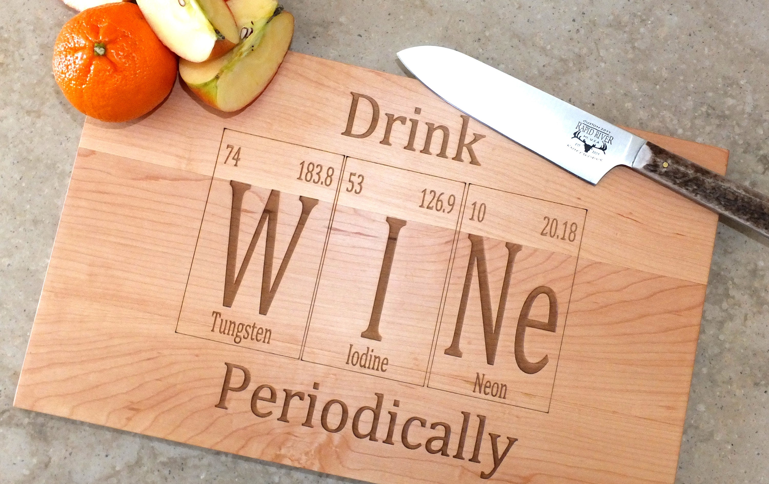 Drink wine periodic table inspired cutting board engraved on maple 1 urtaz Images