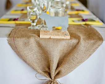 Superb Burlap Table Runner With Ties   Wedding Runner Holiday Decorating Home Decor
