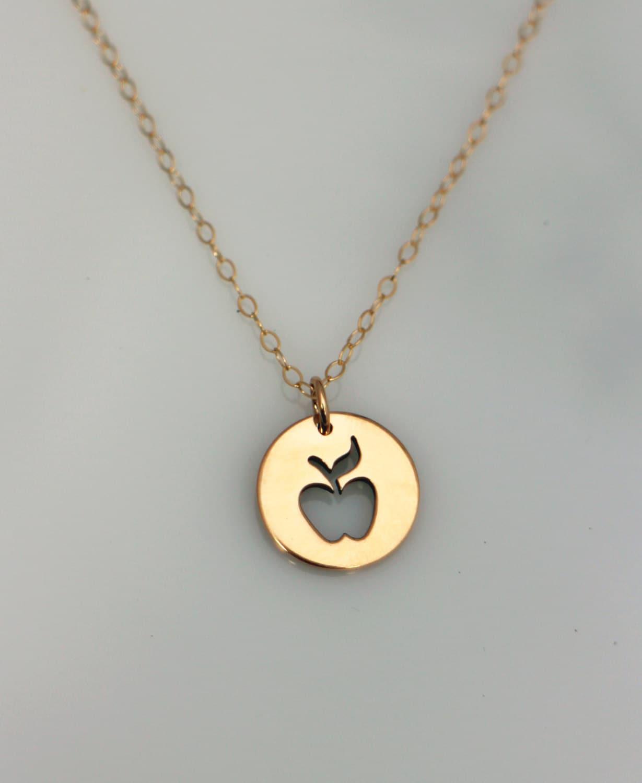 Gold apple teacher necklace gold teacher appreciation zoom aloadofball Gallery