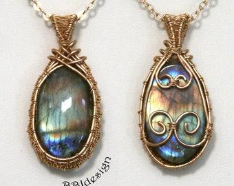 Labradorite Spectrolite Gemstone Cabochon Pendant Necklace Double Sided Brass Multi-Coloured