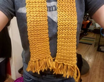 Yellow short scarf with tassels - mustard yellow small scarf - tasseled skinny short scarf