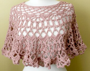 Crocheted Victorian Rose Poncho. Lacy. Capelet.