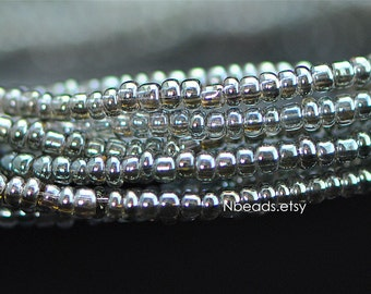 """Glass Seed Spacer Beads 2mm Tiny, Sparkly Olivine Olive Green (#TS73-3)/ 20"""" strand"""