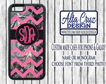 Personalized Chevron Camouflage cell phone case, iPhone or Galaxy, name or monogram #125