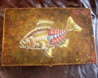 Wooden Box-Steampunk Fish