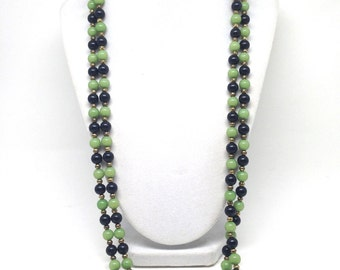 Gorgeous Two Tone Green Lucite Beaded Gold Tone Vintage Estate Necklace