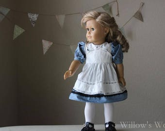 "Edwardian Alice in Wonderland Dress and Pinafore Outfit for 18"" American Girl Dolls"