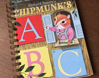 Richard Scarry's Chipmunk's ABC Little Golden Book Upcycled Journal
