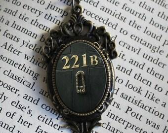 """SHERLOCK  """"221B"""" Door  Pendant Necklace, Sherlock Holmes,Fan Jewelry, Great Gift"""
