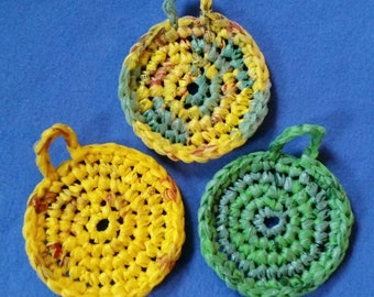 Three Yellow and Green Plarn Dish Scrubbies, recycled plastic bags, eco-friendly dish scrubby pot scrubber