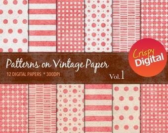 Patterns on Vintage Paper Red Digital Papers 12pcs 300dpi Instant Download Collage Sheets Scrapbooking Printable Paper
