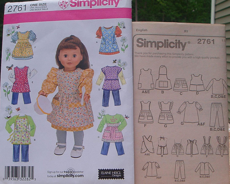 18 Puppe Kleidung Schnittmuster / / Einfachheit 2761 / /