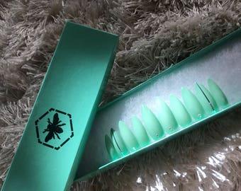 Teal Silver Diamond Stiletto Press on Nails