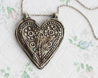 Indian Heart Necklace - Large Love Pendant on Long Chain - Vintage boho Necklace