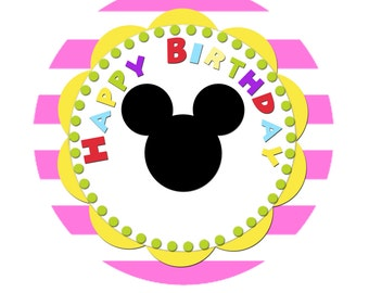 Mickey Mouse Clubhouse Cupcake Topper - Happy Birthday - Pink w/Mickey silhouette