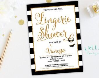 Lingerie Shower Invitation, Lingerie Shower Invite, Lingerie Bridal Shower, Gold Glitter Bridal Shower Invite, DIY Printable
