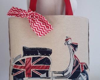 Tote bag original vespa scooter English pattern