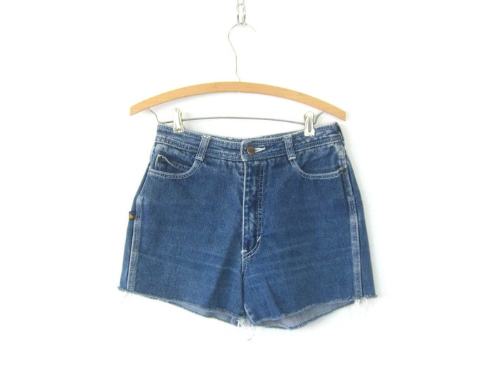 80s Blue Jean Shorts High Waist Cut Off Bon Jour Denim Shorts Vintage 1980s MOM Shorts Frayed Hipster Boho Womens Size 28 inch waist Small