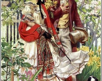 Regency/Early Victorian SPRING Walk! Romantic Couple Vintage Illustration. Vintage Digital Download.  Spring Digital Print.