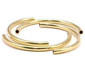 Brass Noodle Tubes - Raw Brass Semi Circle Curved Tube Beads (3.5x55mm) D265