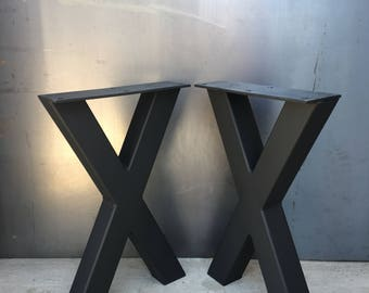 2x2 X Shape Steel Leg, Set Of 2, Metal Table Leg, Industrial Table Leg, X  Shape Bench Leg, X Shape Coffee Table Leg, Metal Coffee Table Leg