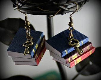 Stack of Books Earrings with key