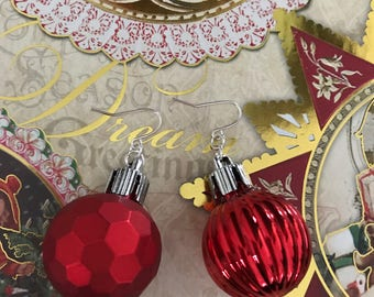 Ornament Earrings Ready to Ship Holiday Jewelry Christmas Earrings Christmas Present Stocking Stuffer Gift Exchange Gift For Her CatDKnits