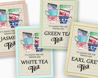 Digital tea tags, Vintage Tea Party cards, Earl Grey Tea, Scrapbook supplies, Printable Tea Party favors,  ATC,  Digital Collage, Tea Decor