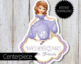 Sofia The First Birthday Party PRINTABLE Large Centerpiece- Instant Download Princess Sofia Party   Disney Sofía  Welcome Sign  Cake Topper