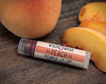 Lip Tint Natural PEACH Organic Botanical Lip Color - Mica Free - .15 oz stocking stuffer