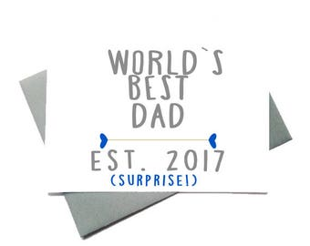 """Pregnancy announcement card//Nursery art// New father card//Father's Day Card- """"World's Best Dad"""""""