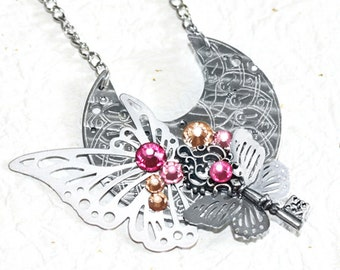 Steampunk Necklace - Ornate Butterfly Key GUILLOCHE ETCHED Antique Pocket Watch Movement Steampunk Necklace - Silver Butterfly Necklace Gift