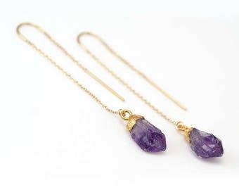 Raw Purple Amethyst Threader Earrings, February Birthstone Earrings, Rough Stone Earrings, Long Gold Earrings, Ear Threaders, Boho Earrings