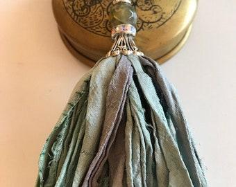 Sari Silk Tassel Necklace-Light Aqua-Boho Tassel Jewelry