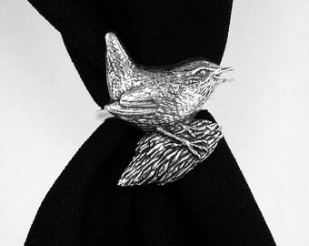 Wren Bird Scarf Ring, English Pewter, Handmade in Great Britain (ab)