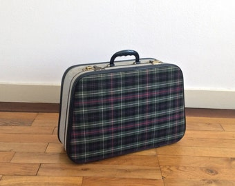 Small vintage hard shell suitcase with green and blue chequered tartan front and back with grey tweed sides