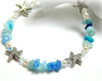 Starfish Anklet, Anklets for Women, Quartzite Anklet, Aqua Blue Anklet, Starfish Jewelry, Quartzite Jewerly, Beach Anklet, Adjustable Anklet