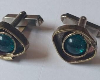 Base Metal Cufflinks set green stones