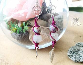 Dreamcatcher earrings, Stars & Feather Boho earrings, Sterling silver earrings, gemstone earrings, boho chic rainbow earrings, long earrings