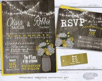 Rustic Printable Wedding Invitation, Mason Jar Wedding Invitation, Summer Country Wedding Invite, White & Yellow Peonies, String Lights DIY