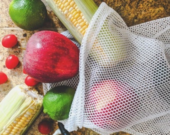 Mesh Bag Market Produce Container Heavy Duty Grocery Sack Resealable Locking Closure Washable Vegetable Bag With Cord Shopping Bag