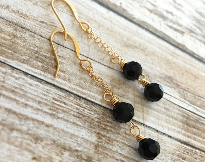 Featured listing image: Black Swarovski Crystal Gold Chain Earrings