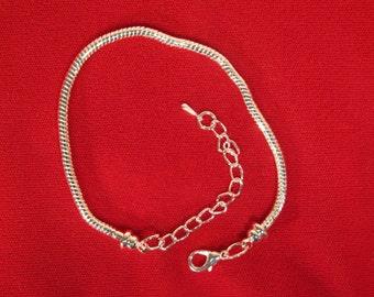 4pc silver plated lobster clasp european bracelet (JC9)