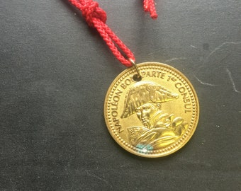 Napoleon Bonaparte  brass medal on red paracord necklace